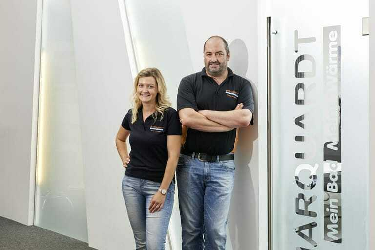 Matthias Marquardt und Ronja Herreiner, Unternehmensnachfolger im Sanitärbetrieb L. Marquardt in Dillingen an der Donau