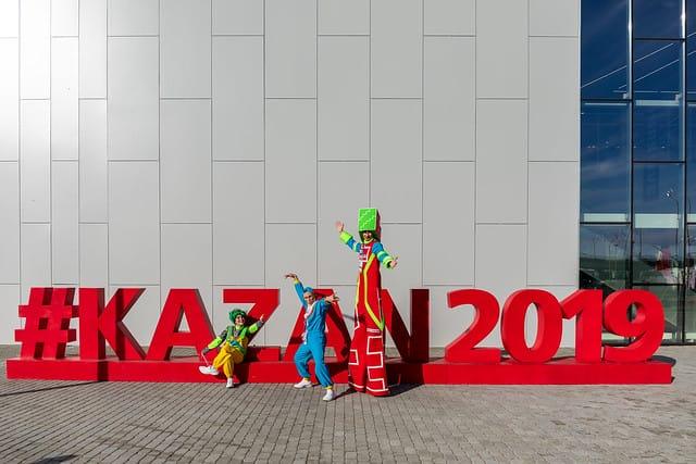 Bei der 45. Weltmeisterschaft der Berufe ist auf dem Expo-Gelände in Kasan immer irgendwas los: bunt, verrückt, unterhaltsam.