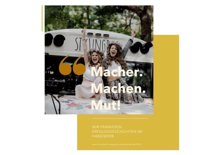 Top Gründer im Handwerk 2021: Echte Macher mit Mut gesucht!